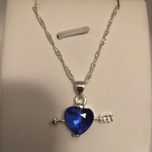 Blue Crystal Heart Silver Arrow Pendant Necklace